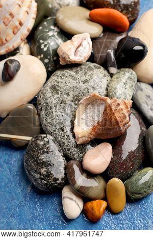 Healthy Lifestyle Concept. Marine Collagen Powder On A Background Of Stones. Hydrolyzed Collagen In