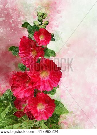 Watercolor Red Hollyhock. Hand Drawn Watercolor Summer Flower Perfect For Design Greeting Card Or Pr