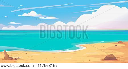 Beautiful Banner Sea And Sky, Clouds, Sandy Shore. Maldives Clipart. Background For Cruise, Travel,