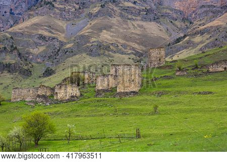 Old Stone Houses In The Village Of Beyni, Ingushetia, Russia. Dwellings In The Caucasus Mountains. G