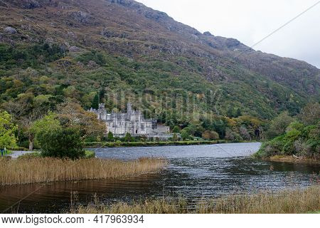 Kylemore Abbey, Home To The Sisters Of The Benedictine Order In Ireland. Duchruach Mountain, On The