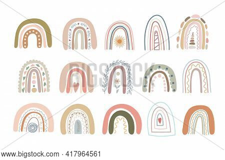 Boho Rainbows Set Abstract Shapes, Simple Hand Drawn Silhouette Vector Illustration In Trendy Pastel