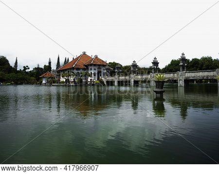 Panorama View Of Historic Ancient Taman Ujung Water Palace In Sukasada Park Karangasem, Bali Indones
