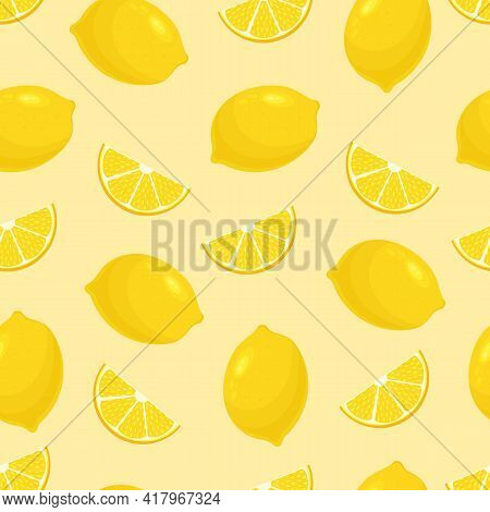 Seamless Pattern With Lemons. Yellow Citrus Slices On A Striped Background. Citrus Fruit. For Wrappi