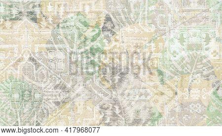 Digital Tiles Design.  3d Render Colorful Ceramic Wall Tiles Decoration. Abstract Damask Patchwork P