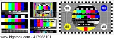 Set Of Tv No Signal Background Or Screen Color Test Television Or   Technical Difficultiest Test Dis