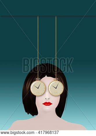 A Business Woman Had Two Pocket Watches For Eyes As She Struggles To Manager Her Time In This 3-d Il