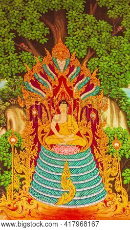 Colorful Wat Don Mueang Phra Arramluang Temple Art Paintings Thailand.