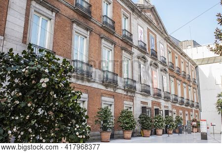 Madrid, Spain - March 6th, 2021: Palace Of Villahermosa, Now Housing The Thyssen-bornemisza Museum.