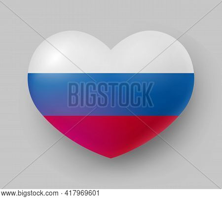 Heart Shaped Glossy National Flag Of Russia. European Country National Flag Button, Russian Symbol I