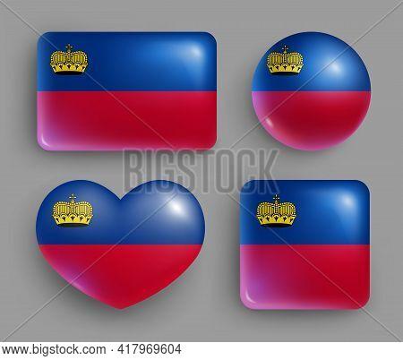 Glossy Buttons With Liechtenstein Country Flags Set. European Country National Flag Shiny Badges Of