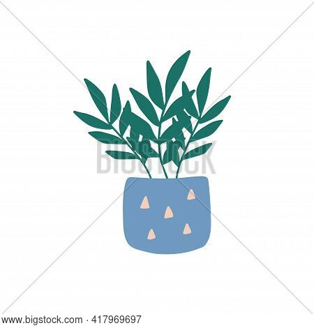 Hand-drawn Tropical House Plant. Trendy Cozy Home Decor. Cute Flower In Blue Texture Pot. Urban Jung