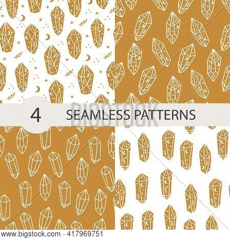 Celestial Seamless Pattern Set With Magical Crystal. Trendy Witchcraft Symbol On White And Gold Back