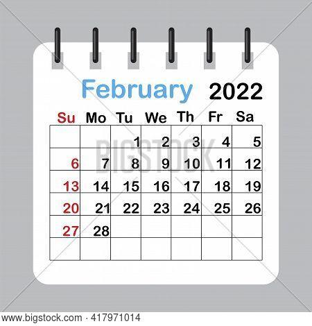 February 2022 Calendar Sheet In Abstract Style. Template Calendar 2022.  Vector Illustration. Eps 10