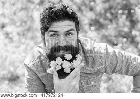 Happy Man No Allergy. Spring Allergy Concept. Fashion And Beauty. Pollen Allergy. Taking Antihistami