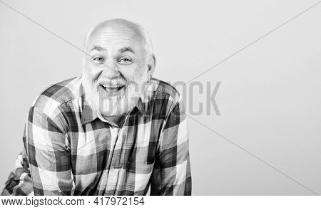 Retirement Leisure. Man Senior Cheerful Emotional Smiling Grandpa In Checkered Shirt. Senior People