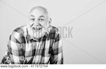 Retirement Leisure. Man Senior Cheerful Emotional Smiling Grandpa In Checkered Shirt. Senior People