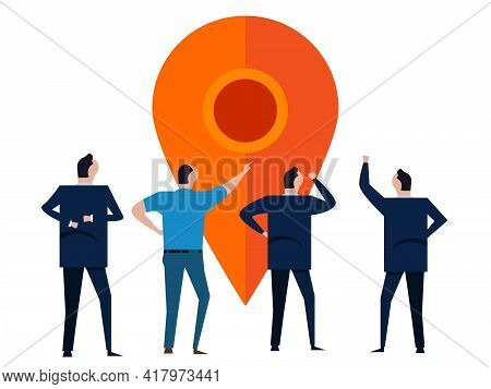 Business Location People Discuss Pointer Tag Position Marker