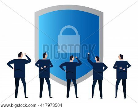 Security Padlock Protection Safety Shield Symbol Of Privacy Businessmen People Discuss Manage
