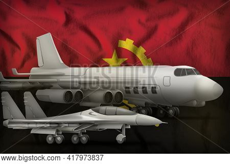 Air Forces On The Angola Flag Background. Angola Air Forces Concept. 3d Illustration