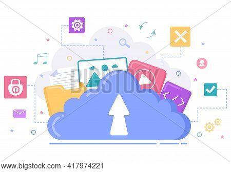 Cloud Storage Service Illustration For Hosting Or Data Center, Online File Download, Upload, Managem