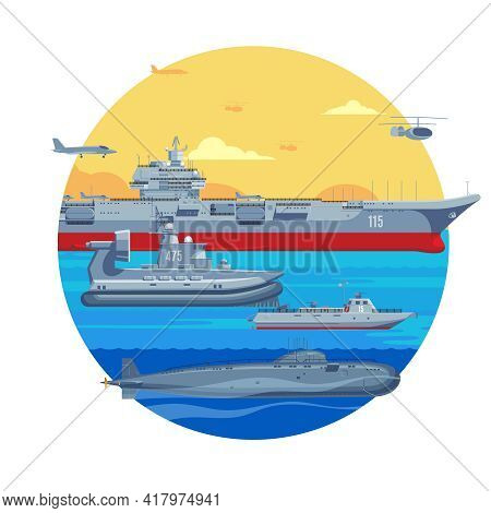 Military Boats Template With Aircraft Carrier  War Ship Naval Frigate Airplane Helicopter And Submar