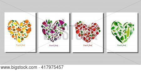Set Of Cards With Fresh Fruits And Vegetables. Pepper And Cabbage, Eggplant And Onion, Berries And O