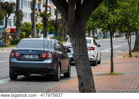 Alanya, Turkey - April 12 2021:  Gray Volkswagen Jetta Is Parked  On The Street On A Warm Summer Day