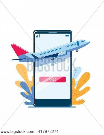 The Plane Takes Off Against The Background Of A Smartphone. Concept Of A Vector Illustration On The
