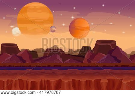 Cartoon Sci-fi  Game Vector Seamless Background. Alien Planet Landscape. Mountain And Crater, Visual