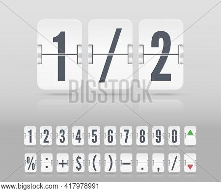 Vector Illustration Template. Vector Coming Soon Web Page With Floating Flip Time Counter. White Sco