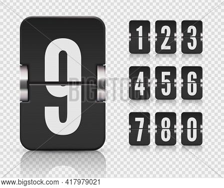 Numeric Flip Scoreboard Set With Reflection For Dark Countdown Timer Or Web Page Watch Or Calendar.