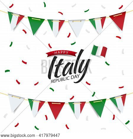 Vector Illustration Of Republic Day Italy. Garland With The Flag Of Italy On A White Background.
