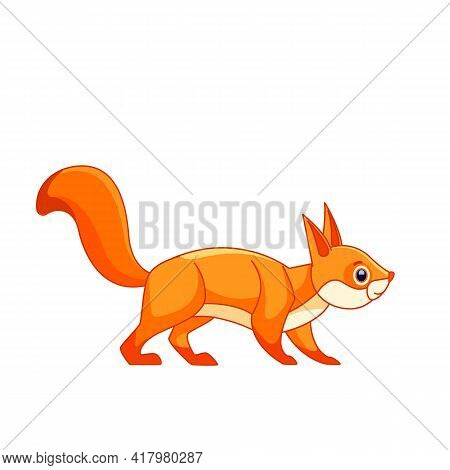 Cute Red Squirrel. Cartoon Character Of An Curious Rodent Mammal Animal. A Wild Forest Creature With