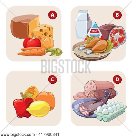Healthy Products Containing Vitamins. Food Healthy, Tomato Aand Lemon, Apple And Ham, Vitamin D B A