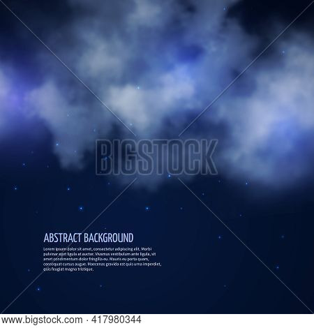 Night Sky With Stars And Clouds Abstract Background. Moonless Space, Vector Illustration