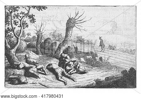 Print from a book, with text on the reverse. The scene shows Satan sowing weeds among the wheat in a field while the farmer and his servants are sleeping.