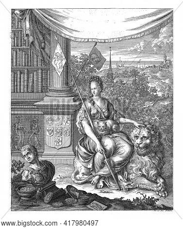 The Dutch virgin sits on the Dutch lion with a cat on her lap. Two banners with lion and cat. On the left in the background a bookcase with the coats of arms of the Zeven Provincien