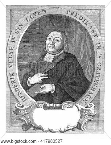 Portrait in an oval frame of Hendrik Velse, pastor of the congregation of The Hague. Bust to the left. Velse is wearing his official robe and is holding a book in his left hand.