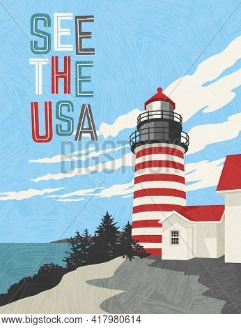 Retro Style Travel Poster Design For The United States.  Scenic Image Of A Lighthouse On The Coast.