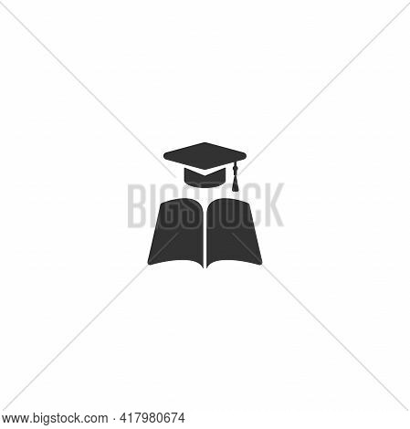 Black Open Book With Graduation Cap Or Mortar Board. Isolated On White Background.