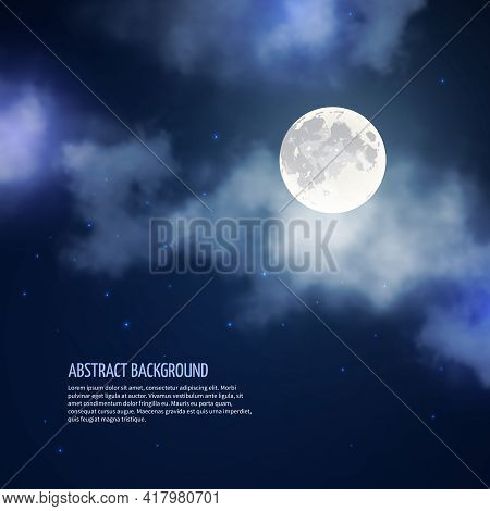 Night Sky With Moon And Clouds Abstract Background. Romantic Bright Nature, Moonlight And Galaxy, Ve