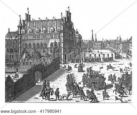 View of the court of Brussels, 1673. In the foreground a number of carriages are driving in the direction of the court.