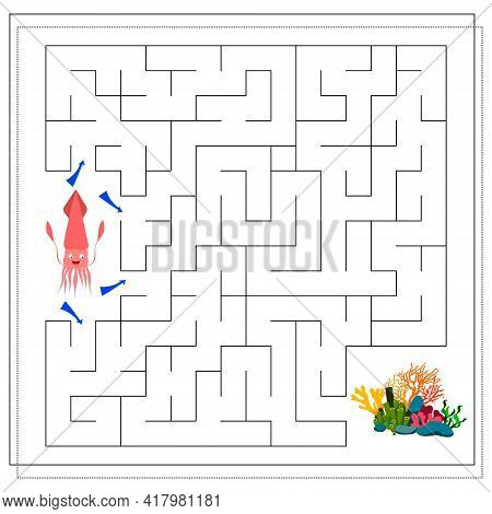 A Maze Game For Kids. Guide The Cartoon Squid Through The Maze To The Corals. Vector Isolated On A W