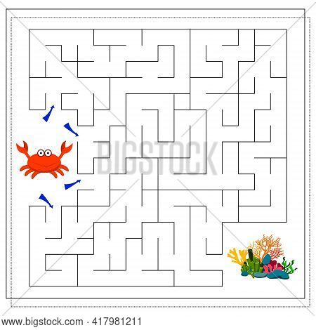 A Maze Game For Kids. Guide The Cartoon Crab Through The Maze To The Corals. Vector Isolated On A Wh