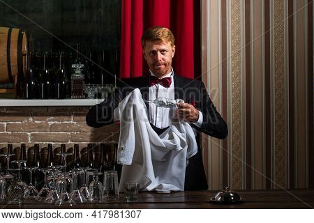 Barman Clean Glass. Restaurant Staff Cleaning. Waiter Bartender Rubbing Glass. Alcohol Serving.