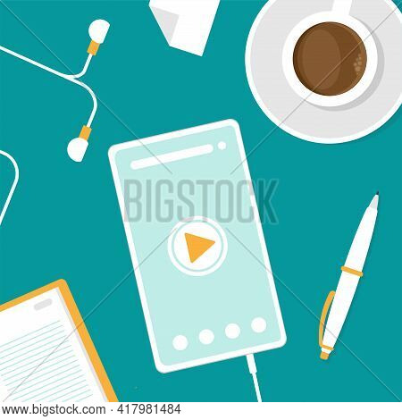 On-line Distant Education, Webinar Concept. Smart Phone With Coffee And Earphones. Audio Message, Vo