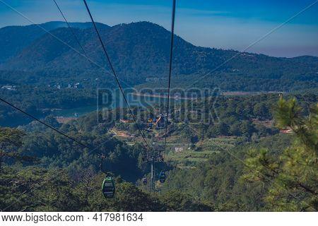 Circulating Cable Car Between Dalat Bus Station And Robin Hill Truc Lam Vietnam. Intermediate Suppor