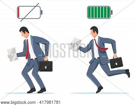 Businessman And Life Energy. Business Man With Low Battery And With High Full Level Energy. Stressed