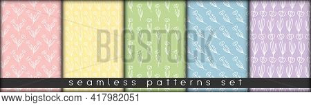 Combinable Seamless Patterns Set Delicate Pastel Colors. Botanical Floral Hand Drawn Lineart Element